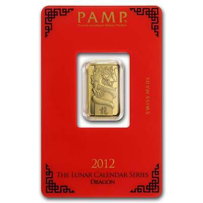 2012 Lunar Year of the Dragon 5g .9999 Gold Minted Bullion Bar - PAMP Suisse