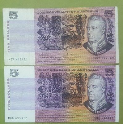 1972 Five Dollar Commonwealth of Australian notes X Four.