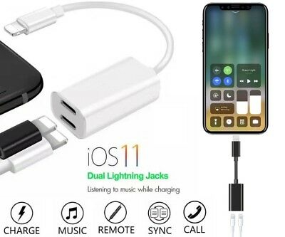 For iPhone X 7 8 Plus Dual 2 Lightning Audio Headphone Adapter Charger Splitter