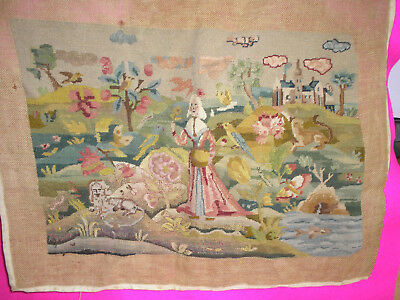 Vintage/antique Tapestry 'needlepoint' Embroidery Needs Finishing 17 1/2X23""