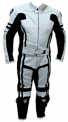 New Mens White Unique Motorcycle Racing Cowhide Leather 2 Piece Suit Safety Pads