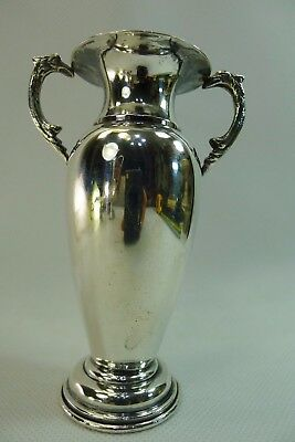 antique / vintage solid silver vase with decorated handles