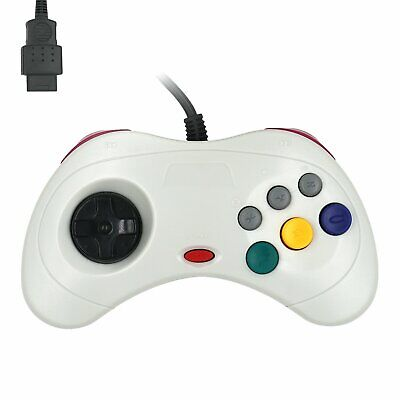 Classic Wired Controller Gamepad Retro Joypad for Sega Saturn SS White