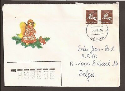 Lithuania 1991 cover. Imperf stamps. Knight on horse