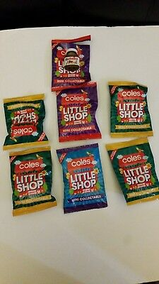 Coles little shop mini collectables 1 open packet and 6 unopen packets