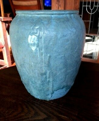 Grueby Pottery, Blue Gray Oatmeal Glaze Vase, Arts + Crafts Floral Design, Nice~