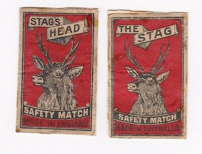 Vintage UK 'STAG'S HEAD' & Australian 'THE STAG' match box covers.