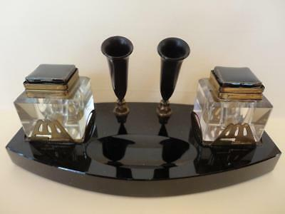 Fabulous Vintage Art Deco C.1930's Pen & Ink Stand Bakelite and Black Glass