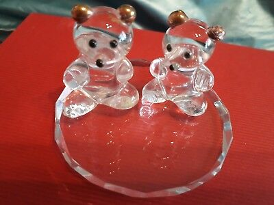 Miniature crystal bears and stand
