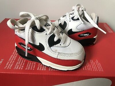 Nike Air Max 90 White Red Black Fashion Training Sneakers Size 4c