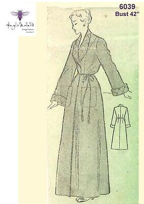 """1940's Vintage Sewing Pattern Women's Dressing Gown Robe Housecoat Bust 42"""""""