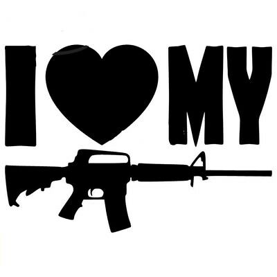 AR 15 Decal Sticker I Love My AR-15  NRA Black or Silver