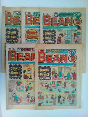 5 x BEANO COMICS from the 1970s Vintage Well Read - Grade C