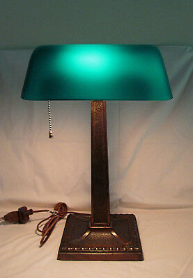 Antique Adjustable Amronlite Brass Bankers Lamp Original Green Shade Pat'd 1917