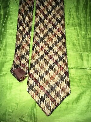 A Vintage Gentleman's W. BILL LTD. BROWN cheque Tie Mens Collectable Clothing