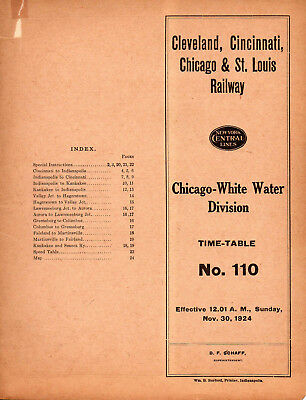 CCC&STLRY Big Four Route ETT Chicago White Water Division Nov 30 1924 #110