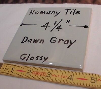 """1 pc.  Glossy Ceramic Tile *Dawn Gray* by Romany Tile Co.  4-1/4""""   NOS"""