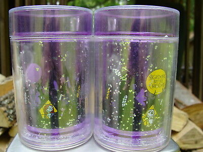 Tim Burton NIGHTMARE BEFORE CHRISTMAS Two (2) Tumbler Cups with Sparkles