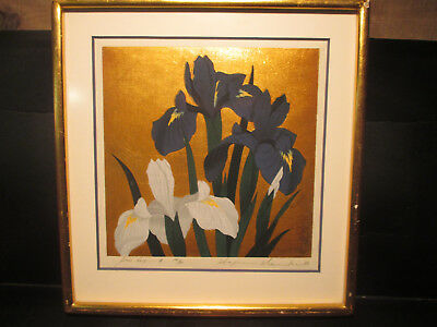 Namiki Hajime Signed Woodblock Iris No.18 1947 Collection  Mrs Ronald Reagan