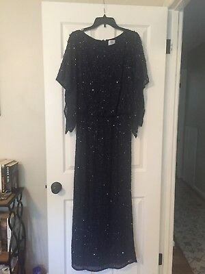 Patra Evening Gown Navy Over Black Sleeveless Wsparkle Mother Of