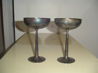 Pair of silver plated goblets