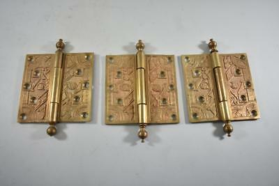 Three Egyptian Motif Victorian Eastlake Heavy Cast Brass Door Hinges