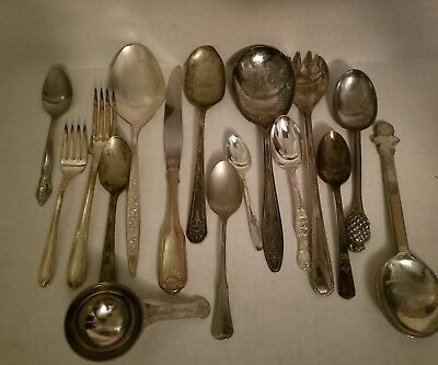 16 Pieces Assorted Old Silver Plated Flatware
