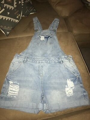 Womens Size 14 Ripped Denim Dungaree Shorts