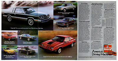 1982 DODGE Vintage Original 3 page Centerfold Print AD 400 Mirada Charger Aries