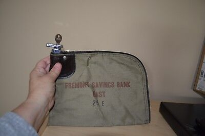 Locking Bank Bag, leather and canvas and chrome with key
