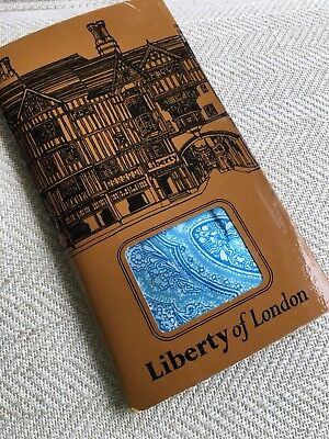 Vintage LIBERTY of London Arts and Crafts  Paisley silk scarf, blue In Box