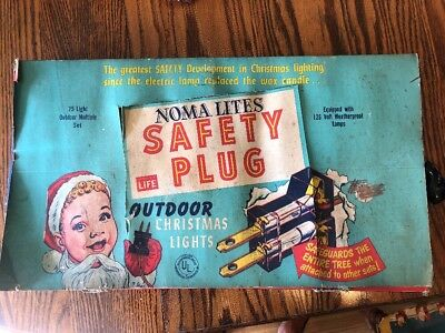 Vintage 1950s Noma Lites 25 Outdoor Christmas Lights with Safety Plug It