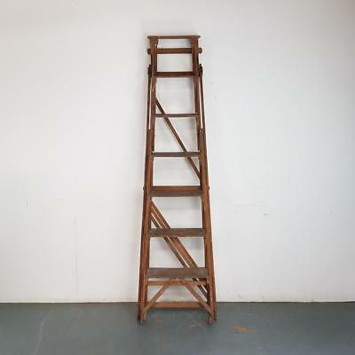 Old Rustic Vintage Wooden Step Ladder Linen Rack Towel Rail Display #2438