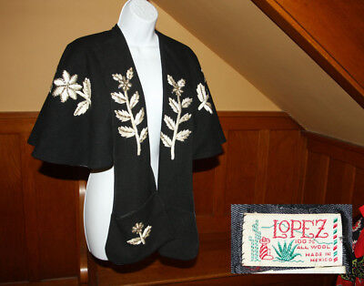Vtg Lopez of Mexican Cape Bolero Capelet Wrap Shrug Overlay Embroidery & Sequin