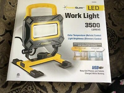 Power Glow Led Work Light 3500 Lumen With Rechargeable Usb Outlet