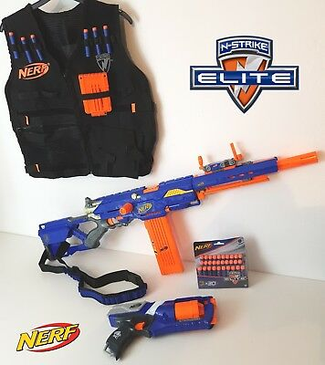 Nerf Longstrike CS-6 Sniper Rifle & Sight Gun Strap Strongarm 36 Darts 2 Mags