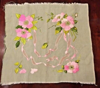 """Antique Handmade Embroidered Square Quilt Pillow Sewing 21""""x21"""" Unfinished Green"""