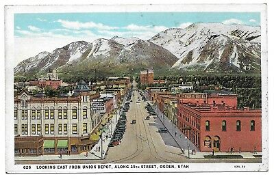 25th STREET FROM UNION DEPOT,OGDEN,UTAH VINTAGE POSTCARD 1915-1930