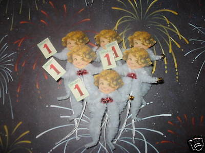 Primitive Vintage Style Baby New Year Ornaments Chenille Feather Tree new