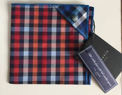 *Rare* TED BAKER Silk Pocket Square. New with tags. High Fashion! Red Check