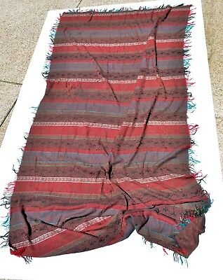 Extra Large Antique Kashmir Paisley Shawl Striped - No Reserve !!!