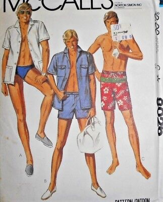 Vintage 1980s McCall's MEN'S BATHING SUIT & SHIRT Sewing Pattern~FF~SIZE 44~8026