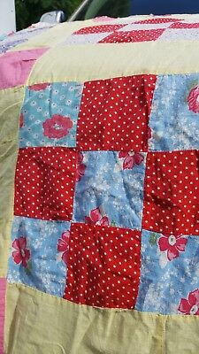 HAND PIECED, ANTIQUE, 20'S to early 30's FEEDSACK 9 PATCH, QUILT TOP.