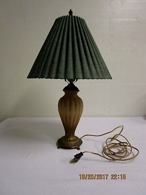 Vintage Glass Table Lamp With Green Shade