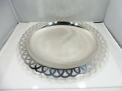 Tiffany & Co. Sterling Silver Fancy Border Serving Platter, Elegant Table Fare