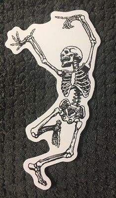 "Funny Dancing Skeleton vinyl skateboard sticker decal 4"" x 2"" Ships from US"