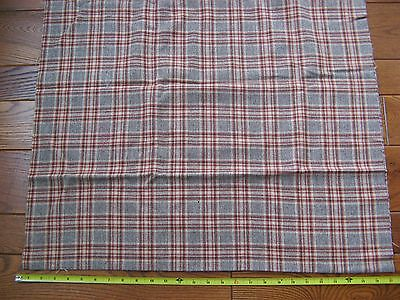 Vintage Wool Fabric Brown Rust Plaid 3/4 yd. x 60W Excellent Fine Weave
