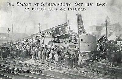 SHREWSBURY RAILWAY CRASH OCT 15th 1907 B&W UNUSED POSTCARD  MY REF 1417