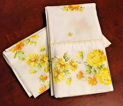 "Vintage Pair Large 39""x20"" Fashion Manor Yellow Cabbage Rose Floral Pillowcases"