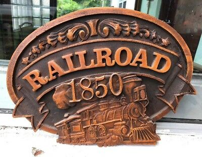 "Vintage Union Pacific 1850 Engine Railroad Train Wood Cork 3D Sign 17x12"" Model"
